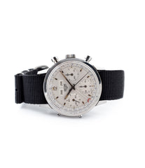 buy vintage Heuer Carrera 12 Dato 2547S Mark II steel chronograph watch silver dial for sale online WATCH XCHANGE LONDON