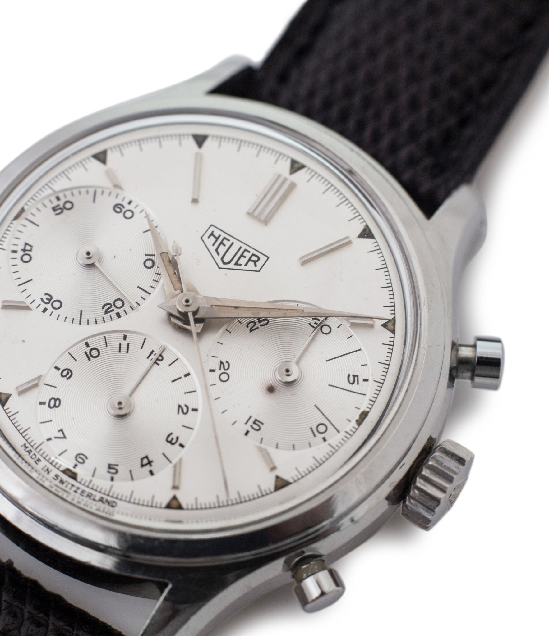 buy Heuer Pre-Carrera 2444 steel vintage Valjoux 72 chronograph watch silver dial for sale online at WATCH XCHANGE London