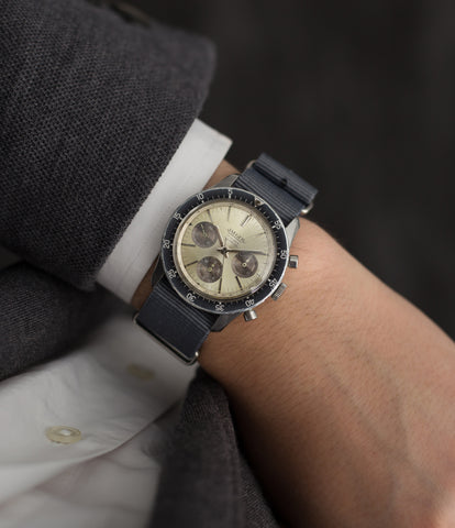 buy Jaeger Chronograph 4ATM Panda dial E.13001 rare steel vintage watch for sale online WATCH XCHANGE London