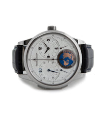 buy Jaeger-LeCoultre Duometre Unique Travel Time Paris Boutique edition 600316S rare white gold luxury authentic pre-owned traveller watch online for sale at WATCH XCHANGE London