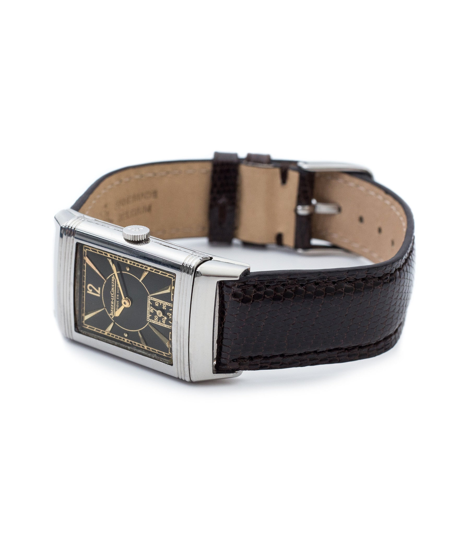 buy vintage Jaeger-LeCoultre Reverso stainless steel black unrestored dial with gold rare watch with authenticity guaranteed for sale online WATCH XCHANGE London