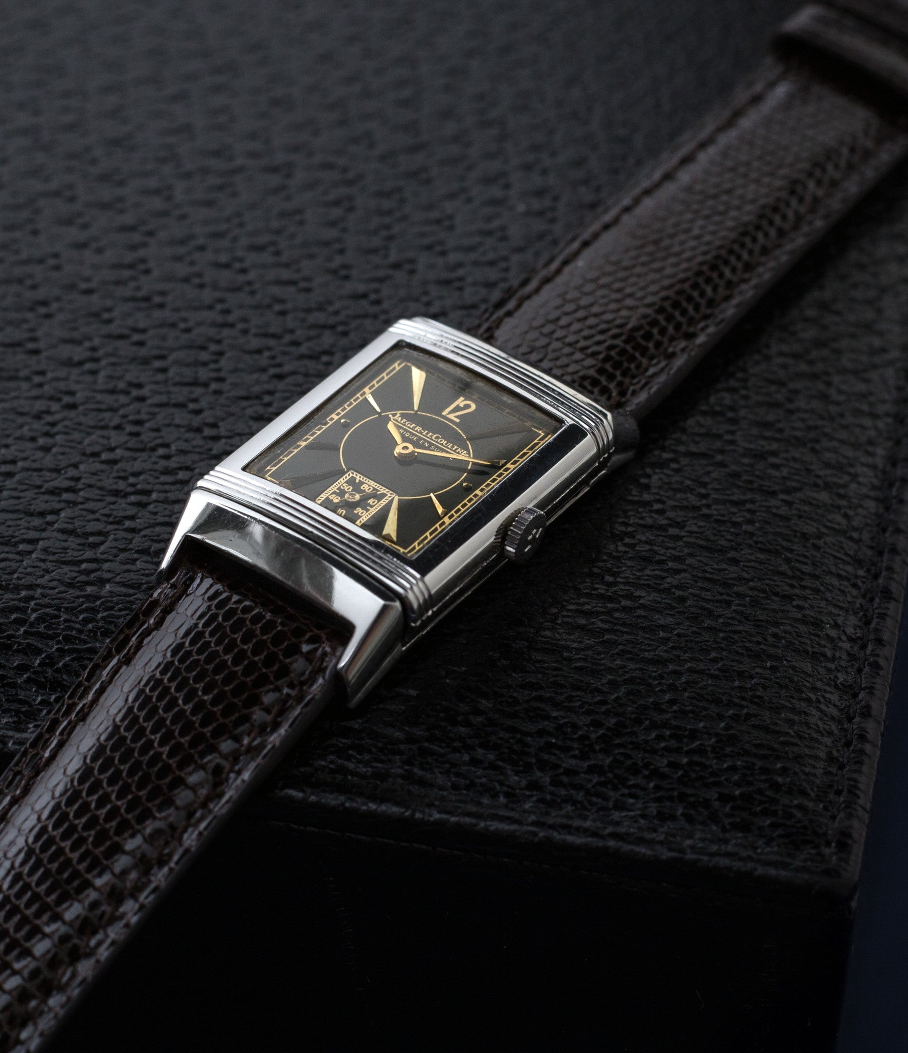 buy vintage Jaeger-LeCoultre Reverso stainless steel black unrestored dial with gold rare watch with authenticity guaranteed for sale online WATCH XCHANGE Londonbuy vintage Jaeger-LeCoultre Reverso stainless steel black unrestored dial with gold rare watch with authenticity guaranteed for sale online WATCH XCHANGE London