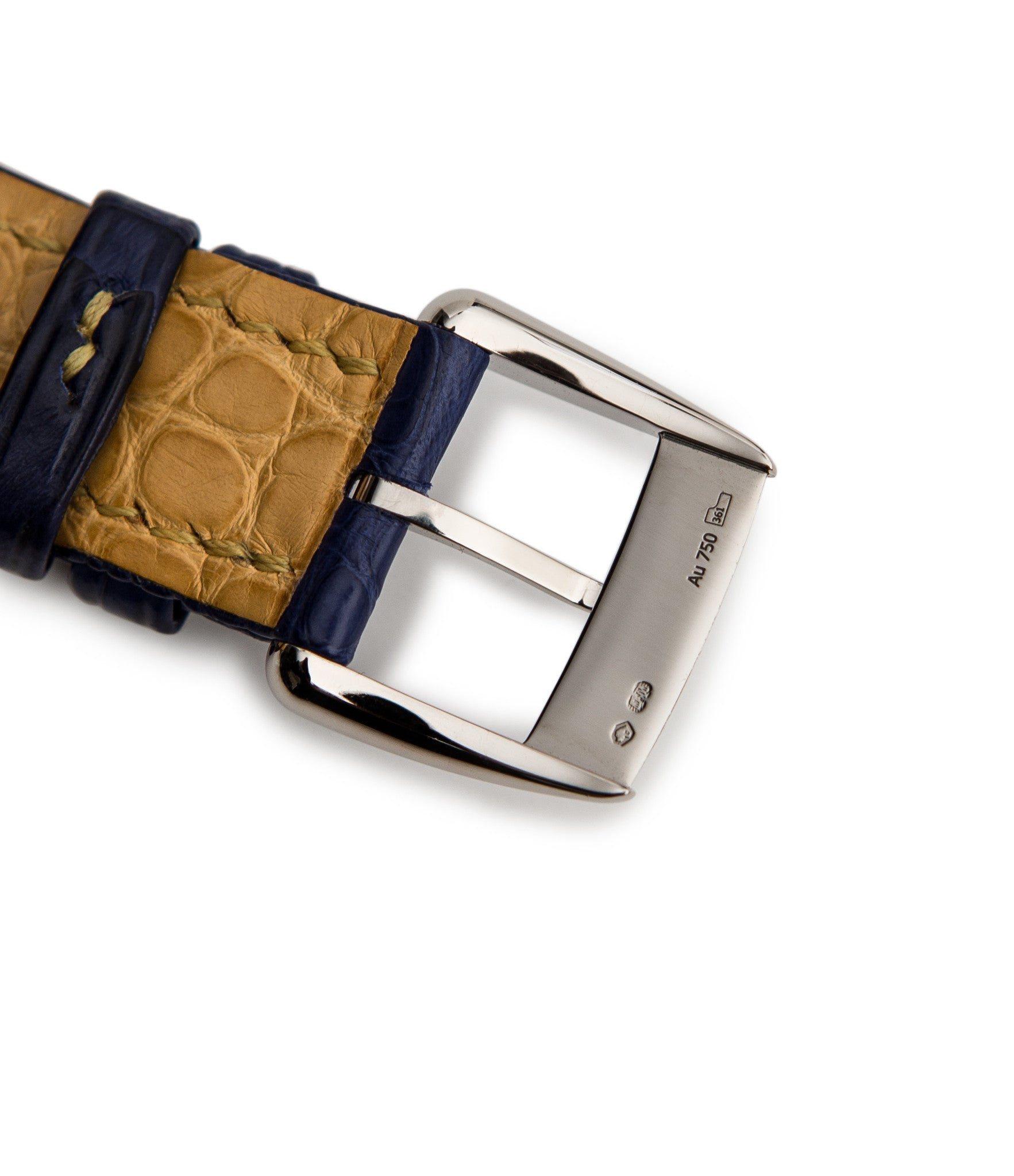 buy Kari Voutilainen unique piece watch Kaen with authetic white gold tang buckle on blue alligator strap with yellow stitchings