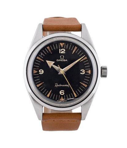 buy vintage Omega Railmaster CK 2914-1 first execution broad-arrow hands black dial antimagnetic rare watch for sale online WATCH XCHANGE London