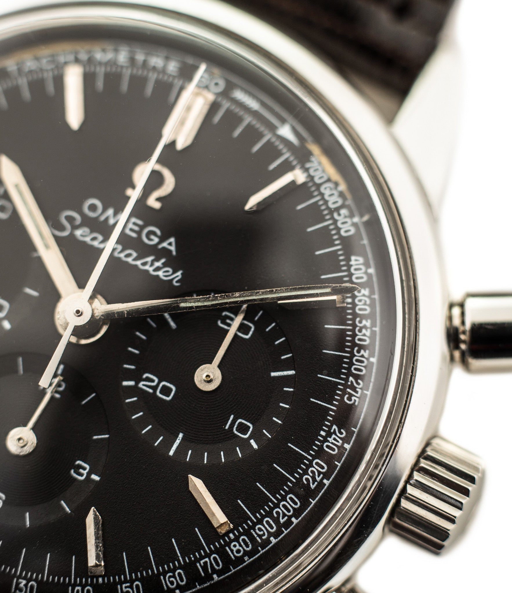 ... buy Omega Seamaster Chronograph 105.001 Cal. 321 rare black dial  vintage steel watch for sale ...