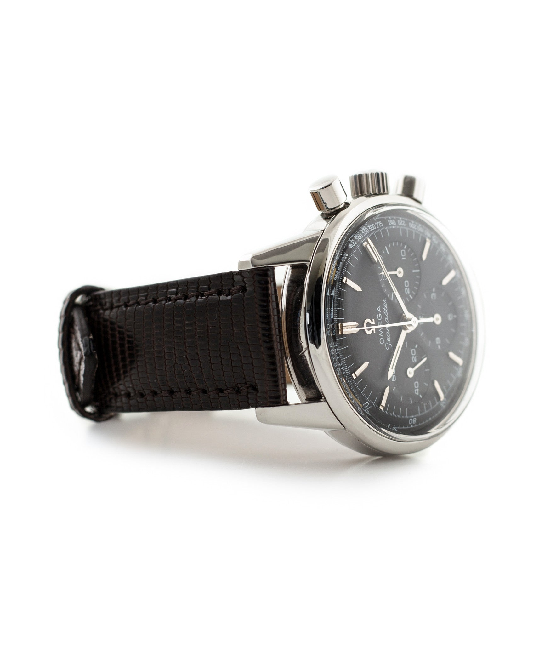 buy Omega Seamaster Chronograph 105.001 Cal. 321 rare black dial vintage steel watch for sale online WATCH XCHANGE London