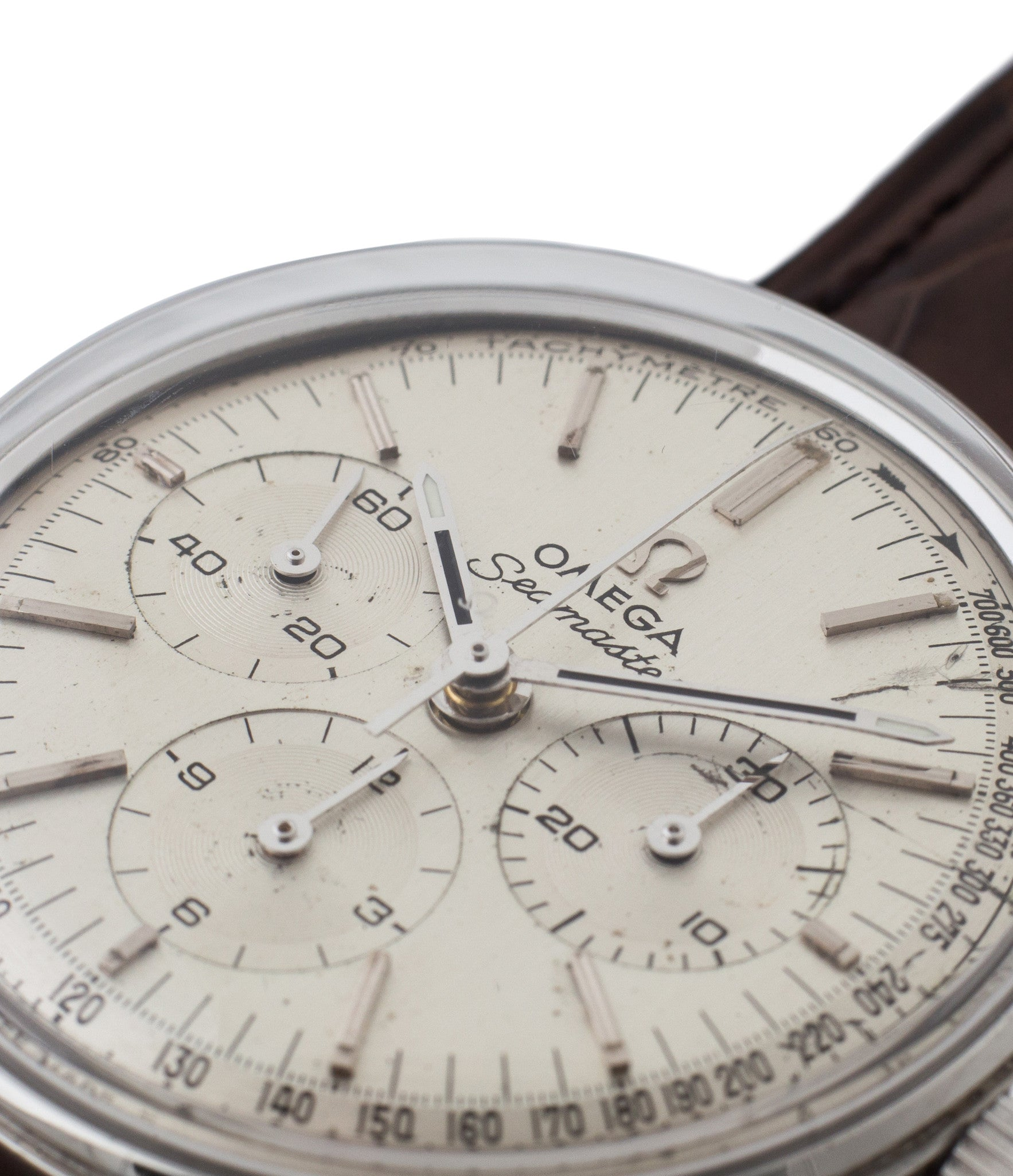 buy vintage Omega Seamaster 150.001 Cal. 321 chronograph watch with silver dial in unrestored condition for sale online at WATCH XCHANGE London with authenticity guaranteed
