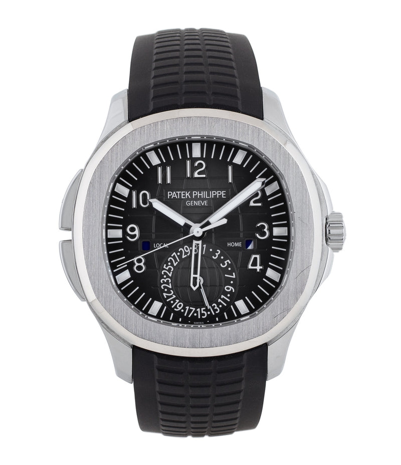 buy Patek Philippe Aquanaut Travel-time 5164A-001 steel pre-owned traveller automatic watch black dial dual time zone with box and papers for sale at WATCH XCHANGE London authenticity guaranteed