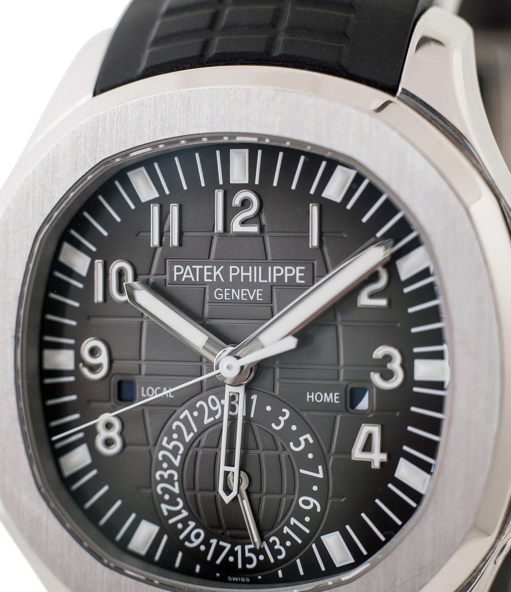 ... buy Patek Philippe Aquanaut Travel-time 5164A-001 steel pre-owned  traveller automatic ...