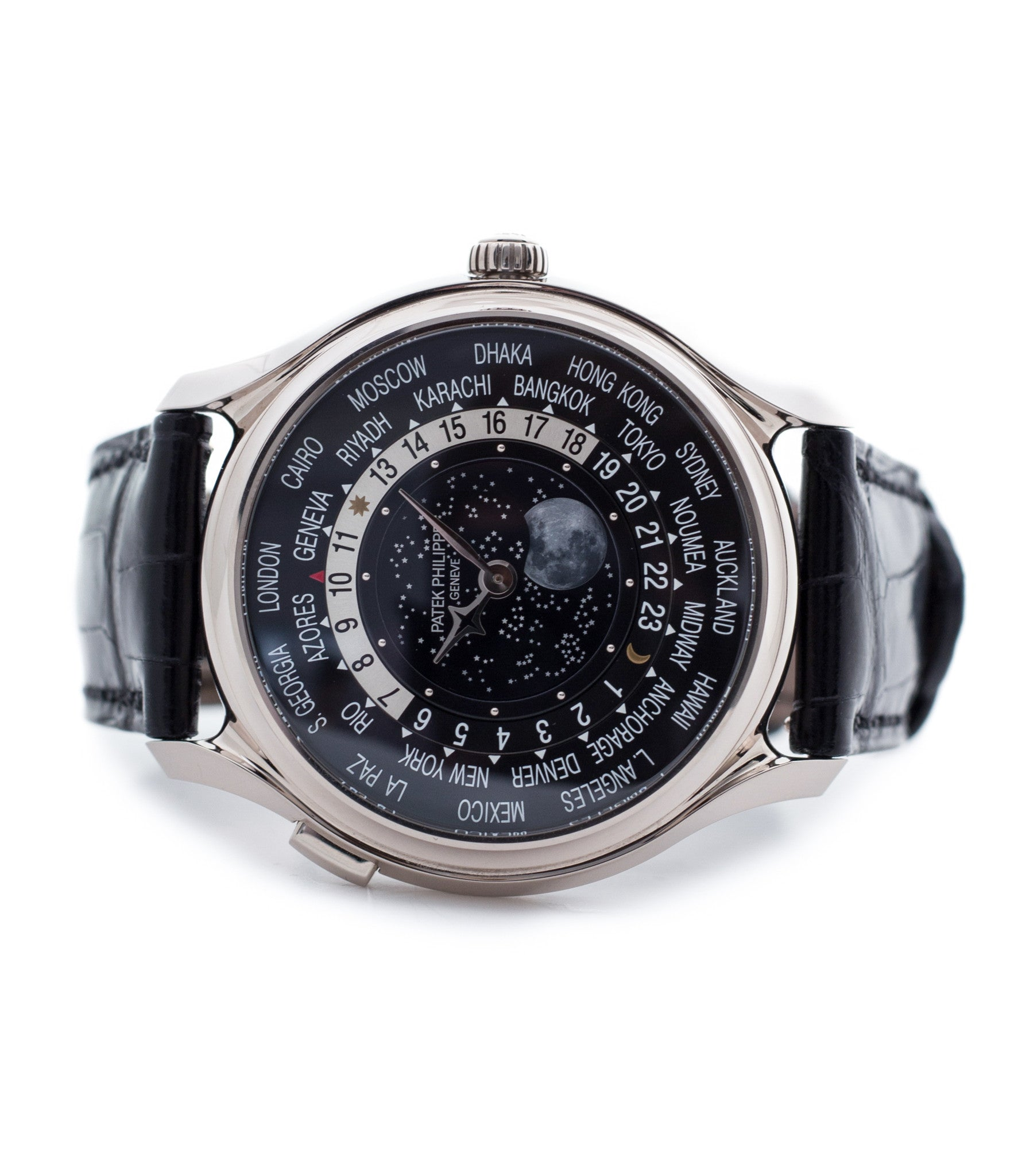 buy Patek Philippe Worldtime Moonphase 5575G rare 175th Anniversary white gold watch online with box, papers and manufacturer's warranty for sale online WATCH XCHANGE London
