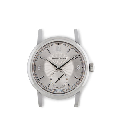 buy Philippe Dufour Simplicity in platinum with silver dial pre-owned dress, rare, time-only watch from independent watchmaker on black alligator strap with time-only functions hours, minutes, sub-seconds for sale online