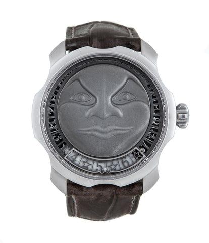 buy Sarpaneva Korona Moonshine Pièces Uniques stainless steel automatic Soprod A10 authentic pre-owned dress, rare luxury watch with silver moonface dial and taupe alligator strap with moonphase, hours, minutes for sale online at WATCH XCHANGE London