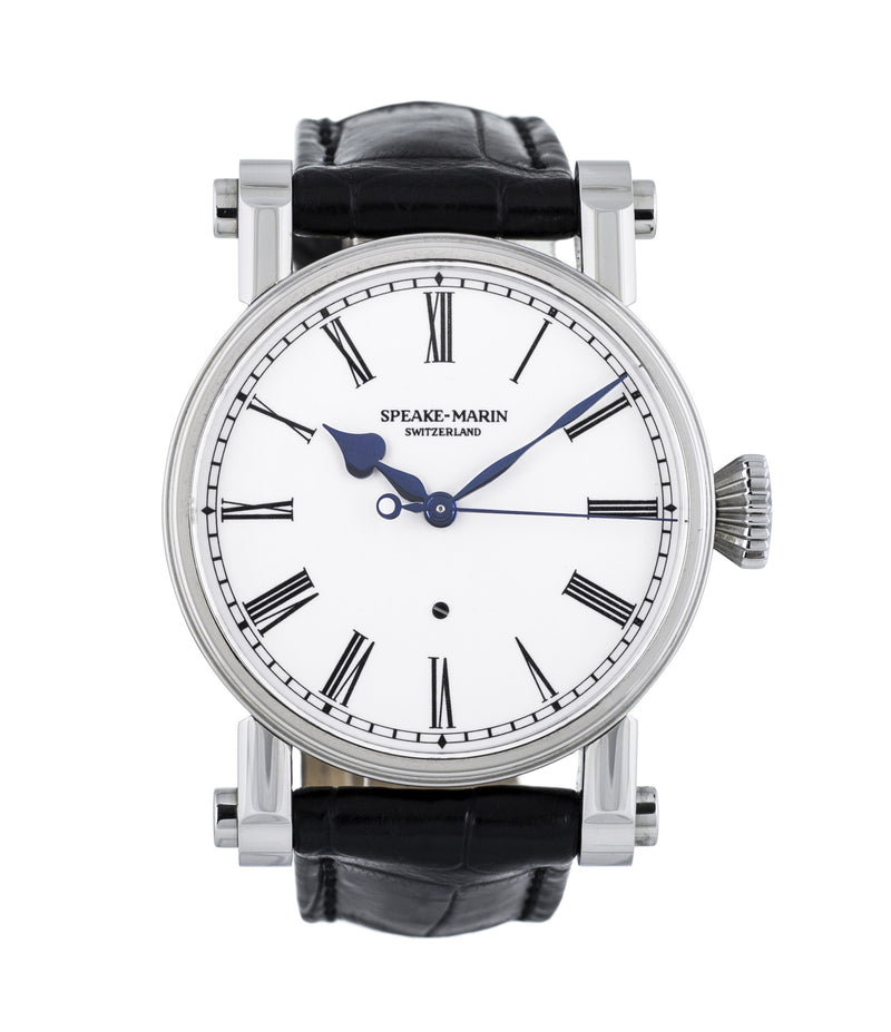 buy Speake-Marin The Piccadilly PS3E4S stainless steel independent watchmaker time-only rare dress automatic authentic pre-owned dress, rare luxury watch with white enamel dial for sale online at WATCH XCHANGE London