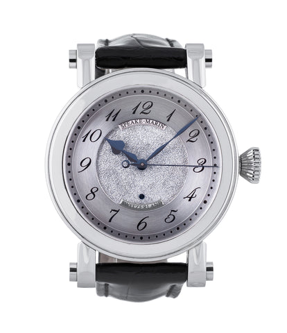 buy Speake-Marin The Piccadilly PS4G10S steel automatic Cal. FW2012 authentic pre-owned dress, rare luxury watch from 2007 with frosted dial and black alligator strap for sale online at WATCH XCHANGE LONDON