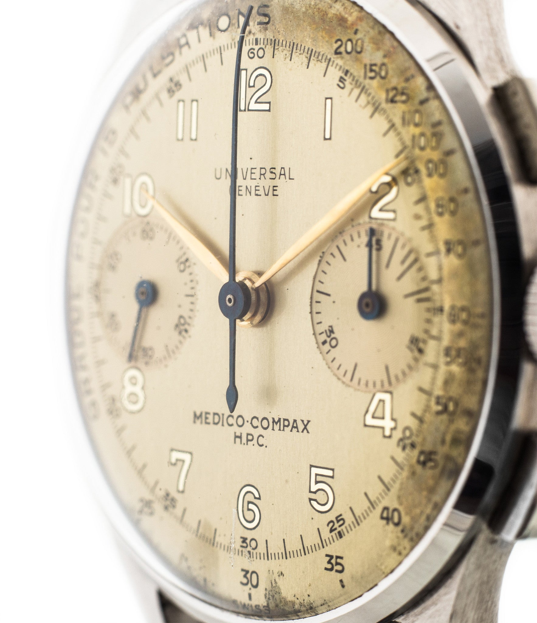 buy vintage Universal Geneve Medico-Compax 22420 steel pulsometer rare doctors watch online for sale at WATCH XCHANGE London
