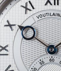 buy Voutilainen Observatorie rare hand-made time-only white gold watch from independent watchmaker online for sale WATCH XCHANGE London with box and papers and blue hands and guilloche dial