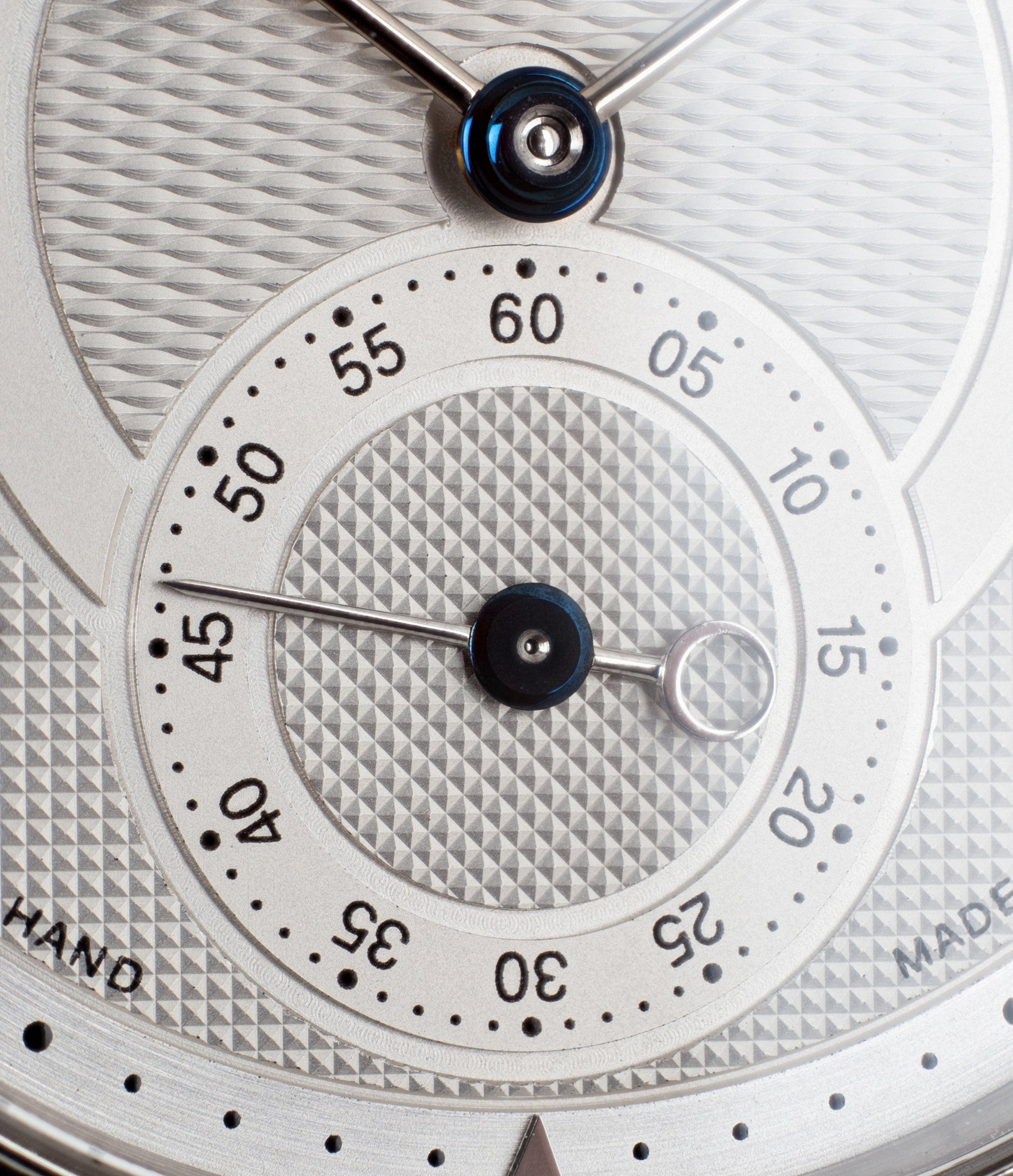 buy Voutilainen Observatorie rare hand-made time-only white gold watch from independent watchmaker online for sale WATCH XCHANGE London with box and papers and blue hands and guilloche dial sub-seconds dial