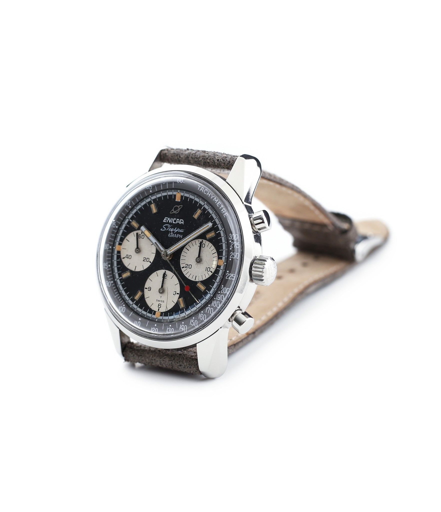 buy vintage Enicar Sherpha Chronograph 300 Ref. 1962 steel Valjoux 72 manual-winding rare racing watch at WATCH XCHNAGE London with tacyhmeter scale