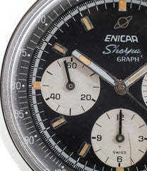 black dial buy vintage Enicar Sherpha Chronograph 300 Ref. 1962 steel Valjoux 72 manual-winding rare racing watch at WATCH XCHNAGE London with tacyhmeter scale