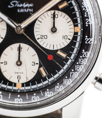 red hand buy vintage Enicar Sherpha Chronograph 300 Ref. 1962 steel Valjoux 72 manual-winding rare racing watch at WATCH XCHNAGE London with tacyhmeter scale