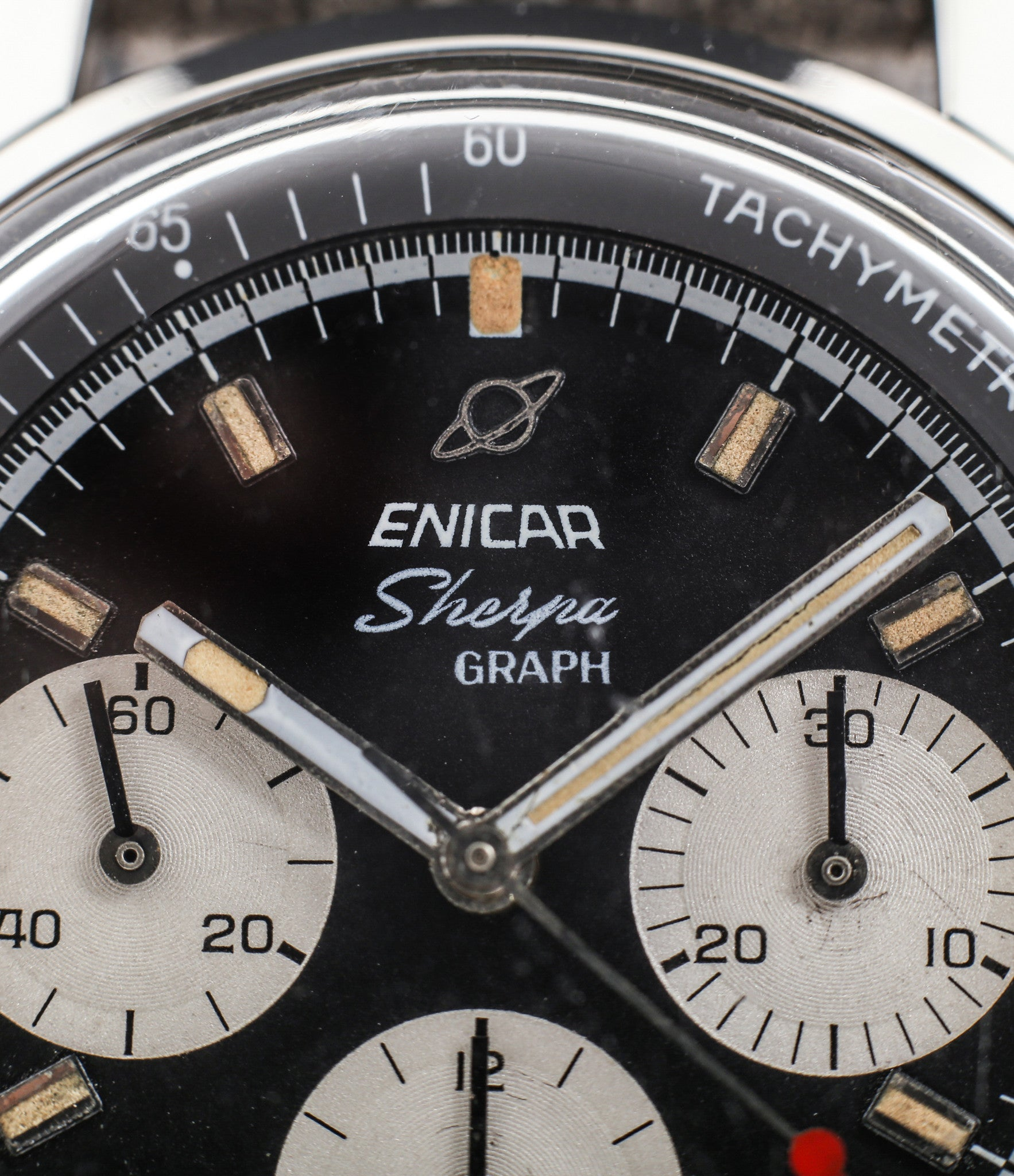 unrestored Enicar Saturn logo buy vintage Enicar Sherpha Chronograph 300 Ref. 1962 steel Valjoux 72 manual-winding rare racing watch at WATCH XCHNAGE London with tacyhmeter scale