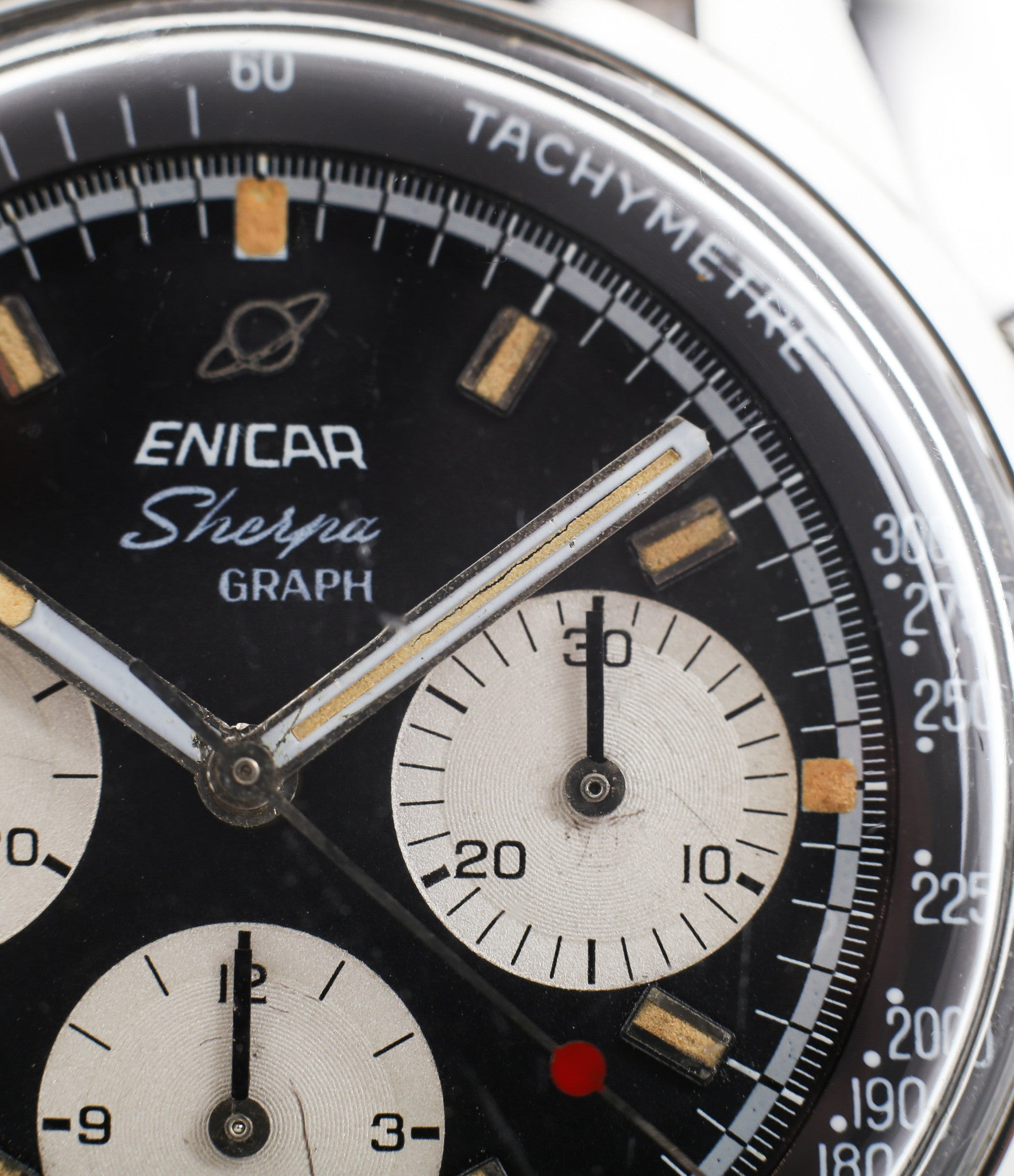 rare dial buy vintage Enicar Sherpha Chronograph 300 Ref. 1962 steel Valjoux 72 manual-winding rare racing watch at WATCH XCHNAGE London with tacyhmeter scale