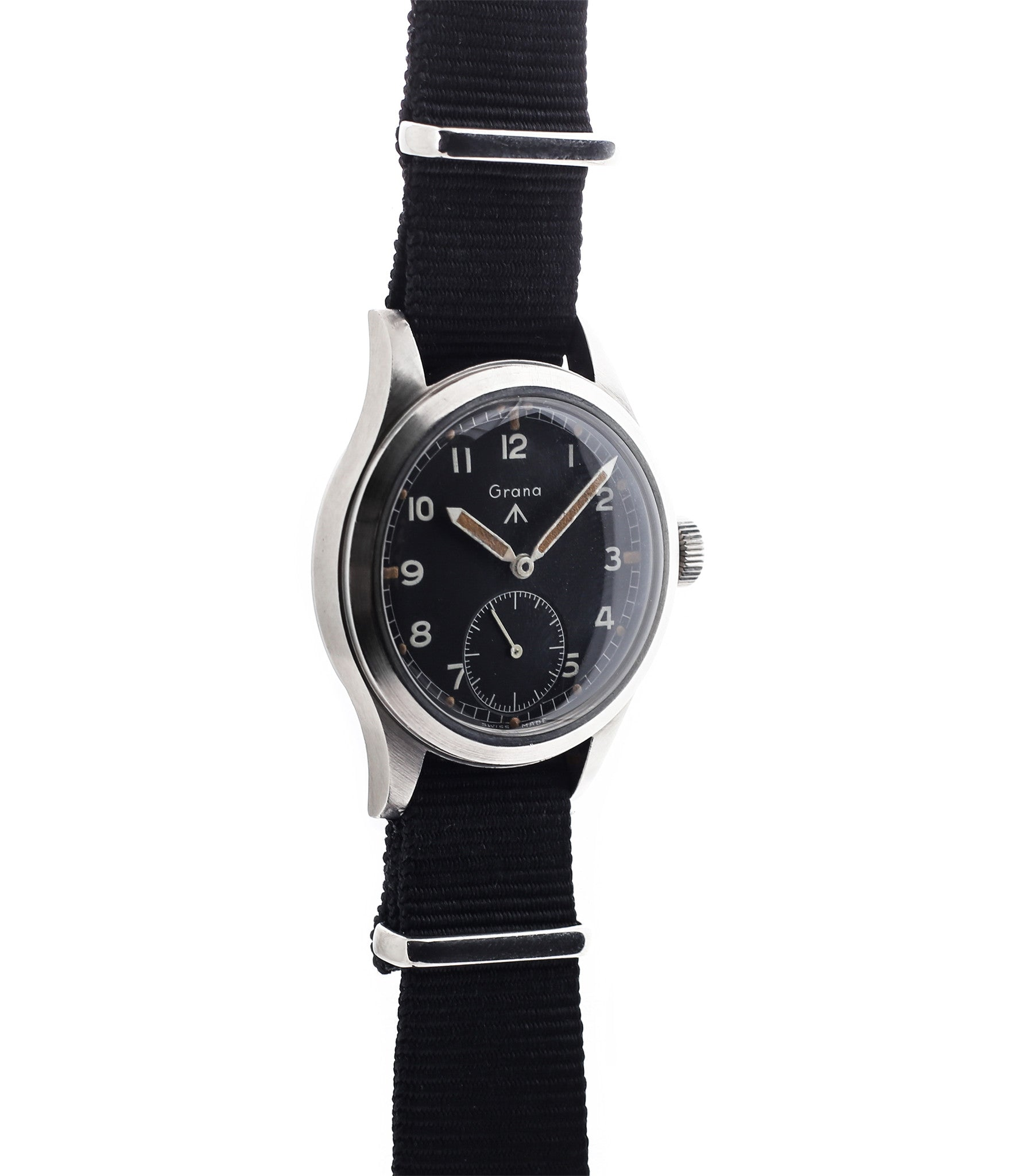 buy rare W.W.W. Grana M18565 Dirty Dozen military watch unrestored black dial online for sale WATCH XCHANGE London