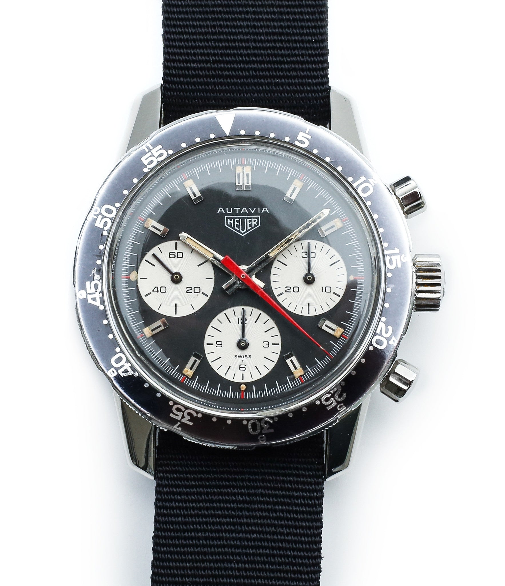 steel vintage chronograph Heuer watch 2446C red hand for sale online