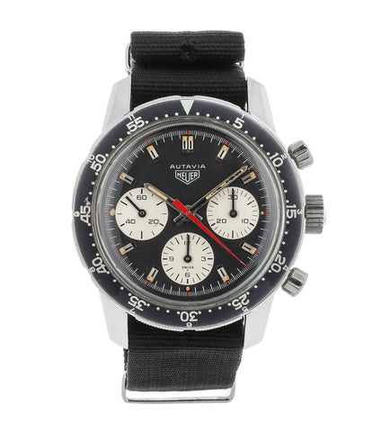 buy vintage Heuer 2446C HM red hand chronograph steel watch online at WATCH XCHANGE London unrestored dial