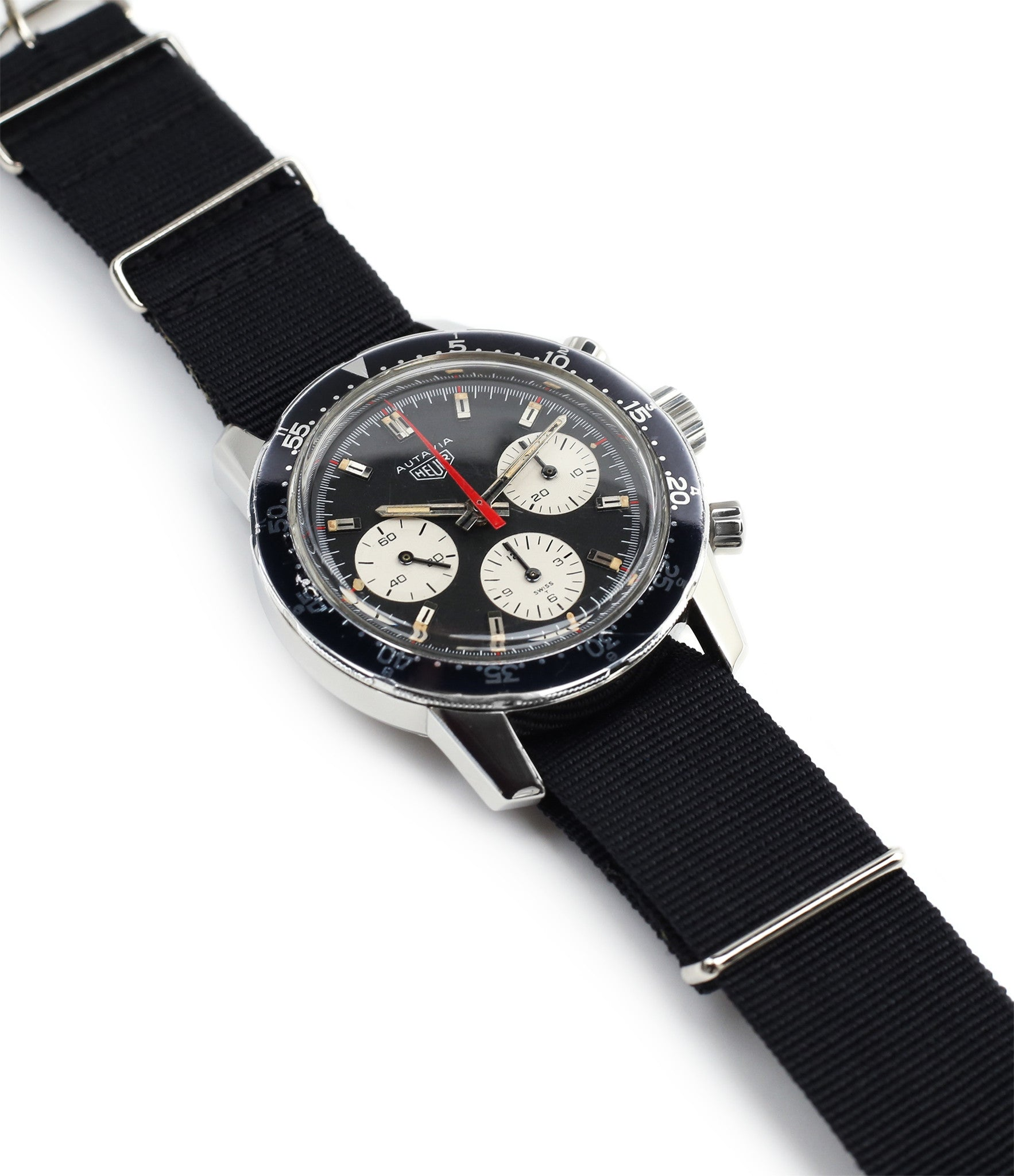 buy vintage Heuer 2446C red hand chronograph steel watch online at WATCH XCHANGE London unrestored dial