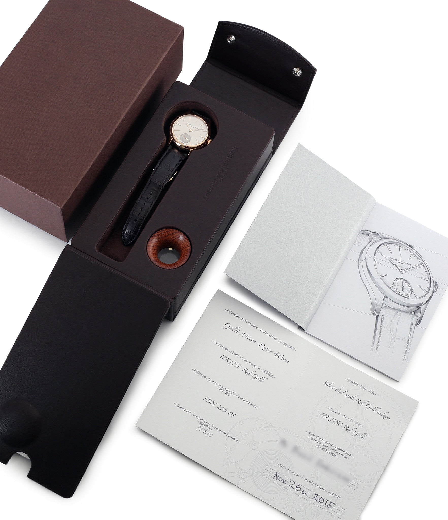 buy Laurent Ferrier Galet Micro-rotor LCF004-R rose gold silver dial wristwatch independent watchmaker