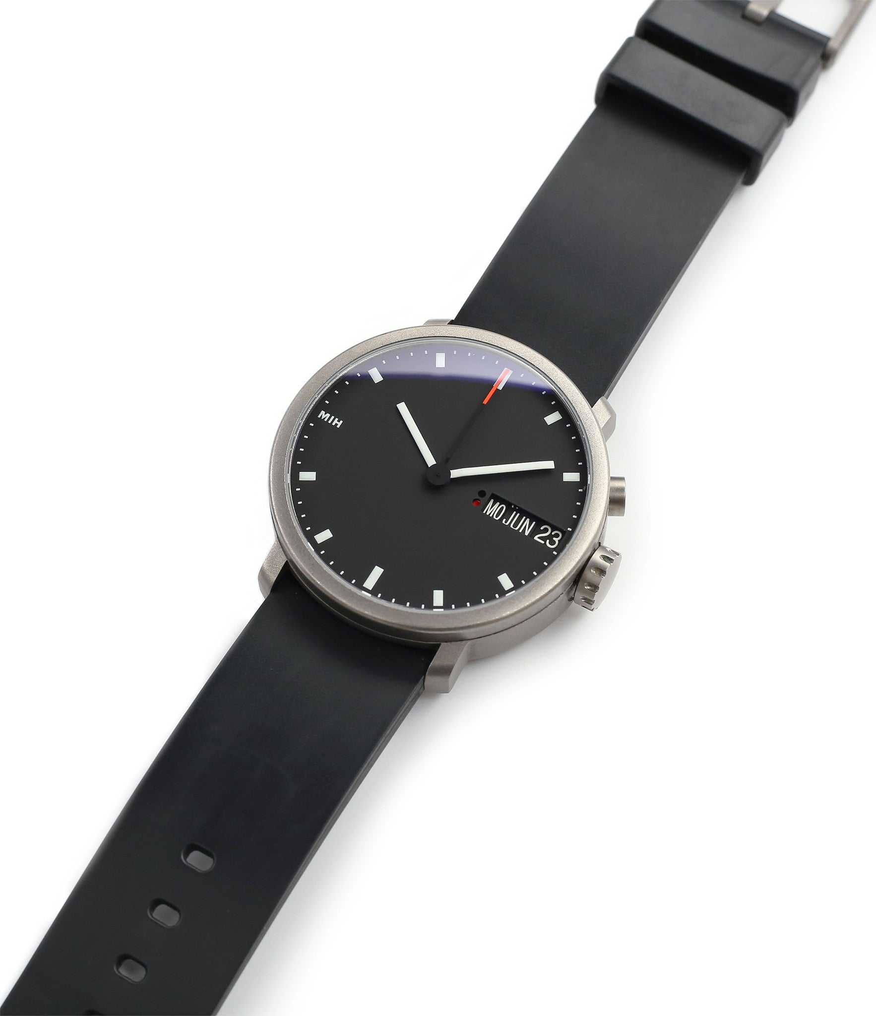buy rare MIH titanium watch with black dial annual calendar for sale online at WATCH XCHANGE LONDON