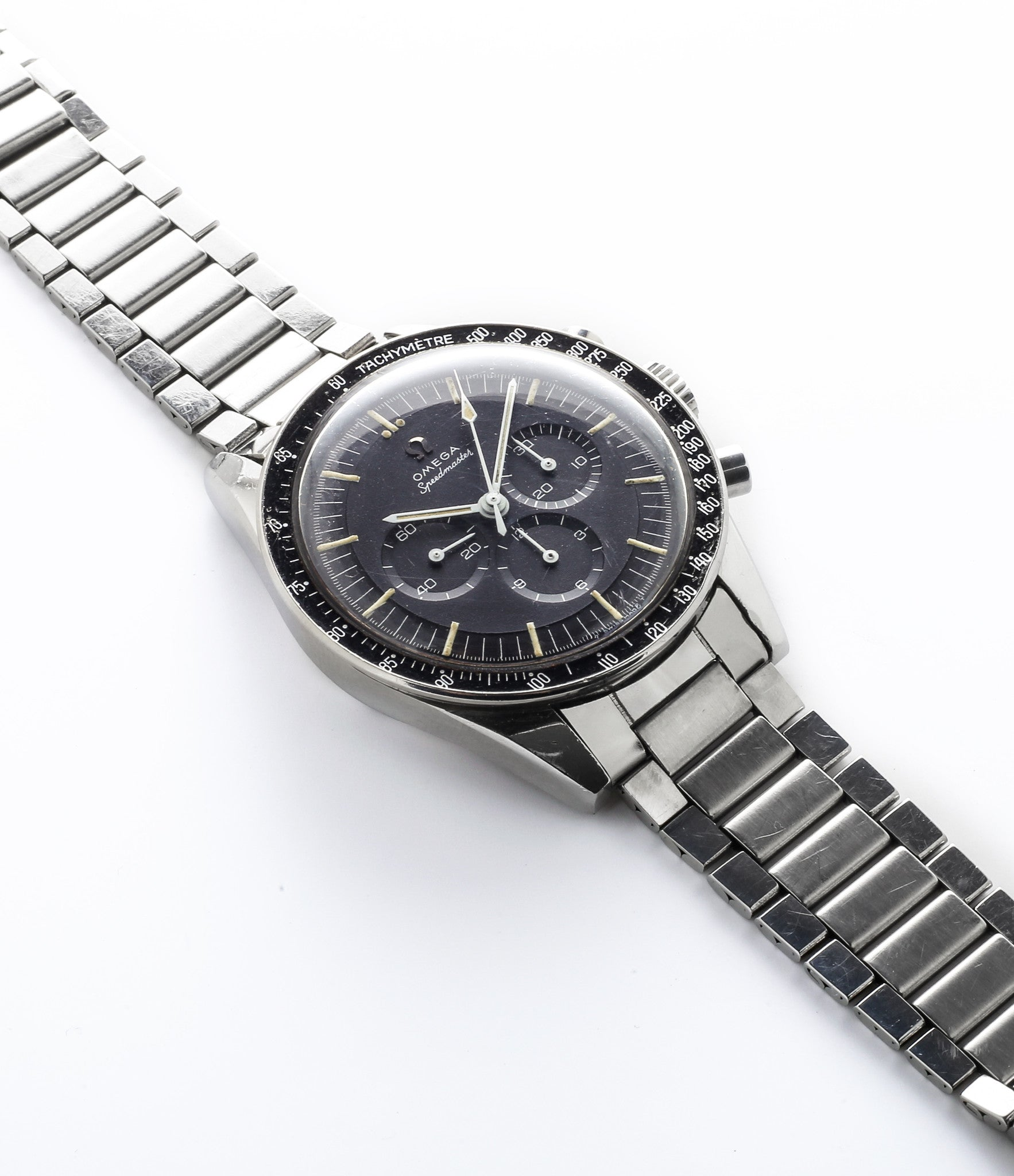 buy vintage Omega Speedmaster Pre-Professional Ed White ST 105.003-65 steel Cal. 321 manual-winding column-wheel chronograph watch with archive extracts for sale at WATCH XCHANGE London