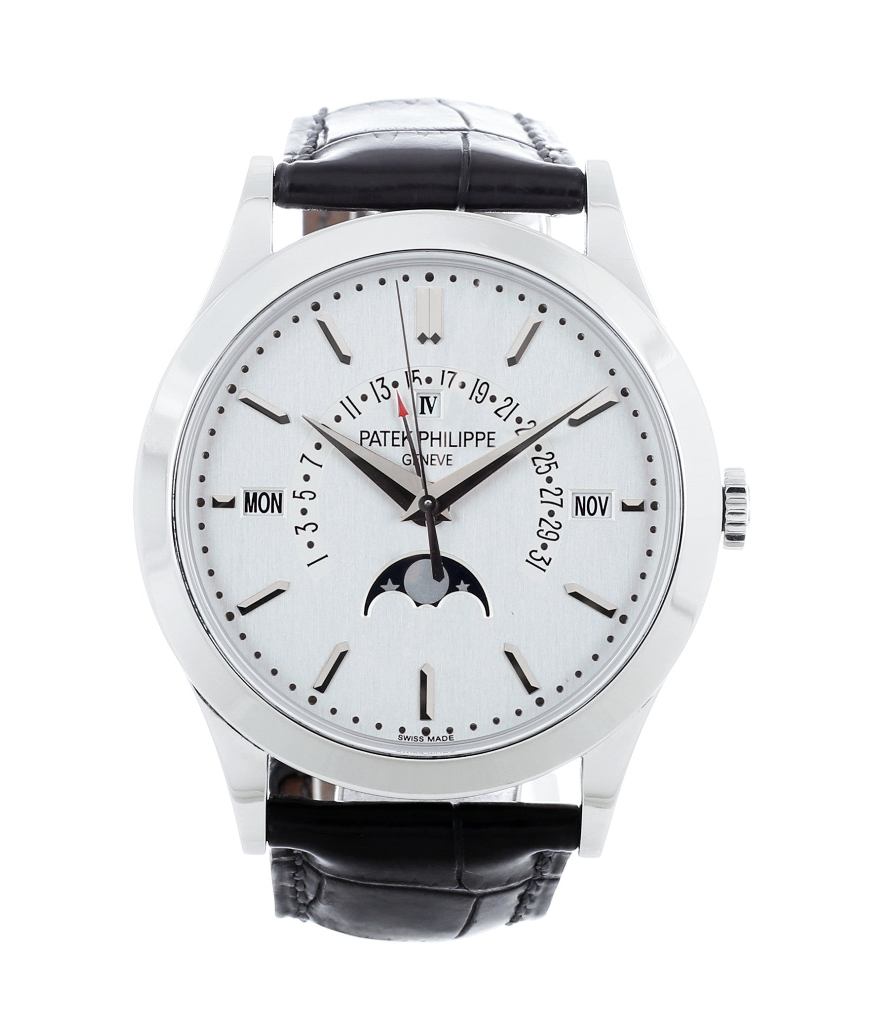 buy Patek Philippe Perpetual Calendar 5496P-001 grand complication platinum full-set dress watch online at WATCH XCHANGE London with discontinued dial layout