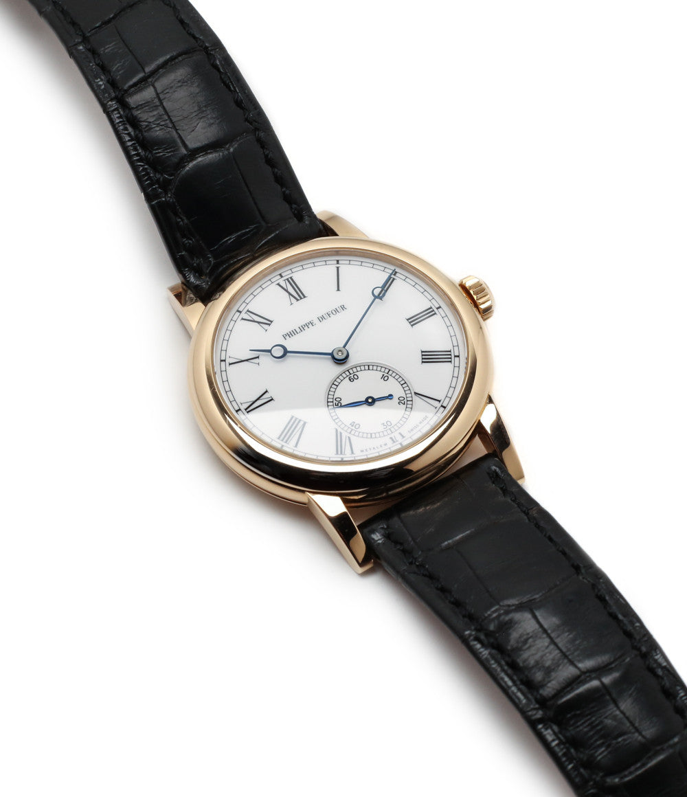 buying Philippe Dufour Simplicity rose gold 37 mm rare watch white lacquer dial Roman numerals from independent watchmaker for sale at approved re-seller of Philippe Dufour A Collected Man