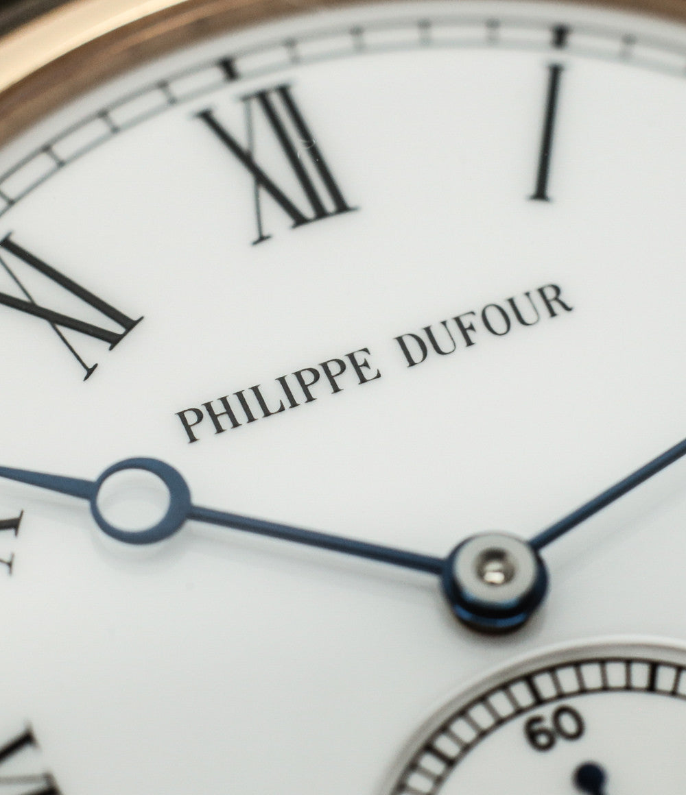 Breguet hands buy Philippe Dufour Simplicity rose gold 37 mm rare watch white lacquer dial Roman numerals from independent watchmaker for sale at approved re-seller of Philippe Dufour A Collected Man