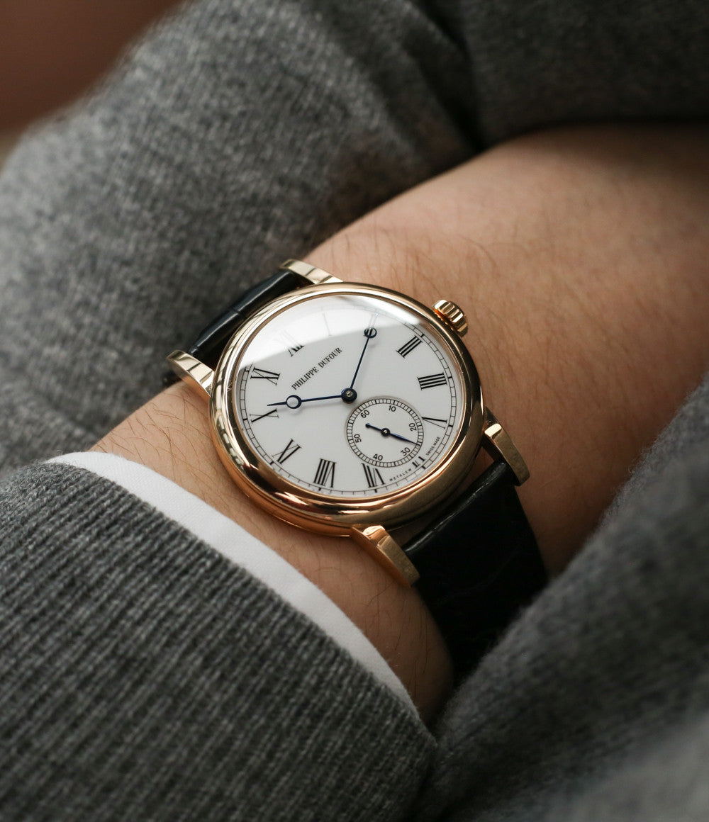 selling Philippe Dufour Simplicity rose gold 37 mm rare watch white lacquer dial Roman numerals from independent watchmaker for sale at approved re-seller of Philippe Dufour A Collected Man