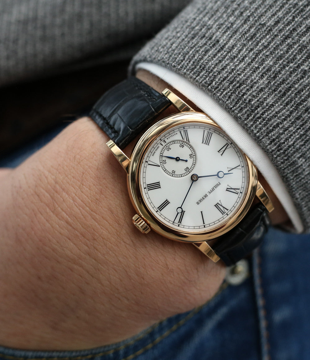 wristwatch time-only buy Philippe Dufour Simplicity rose gold 37 mm rare watch white lacquer dial Roman numerals from independent watchmaker for sale at approved re-seller of Philippe Dufour A Collected Man