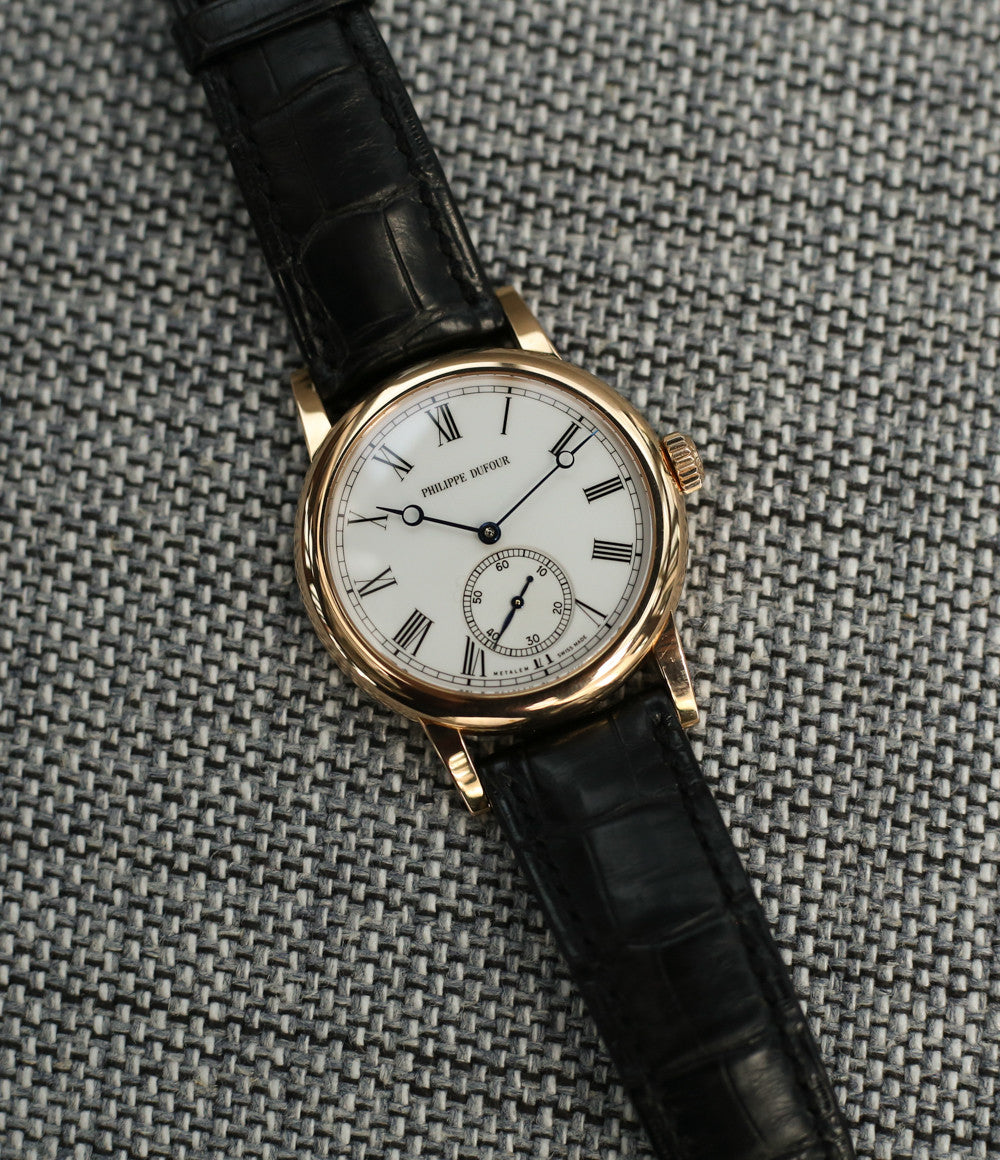 Philippe Dufour Simplicity for sale rose gold 37 mm rare watch white lacquer dial Roman numerals from independent watchmaker for sale at approved re-seller of Philippe Dufour A Collected Man