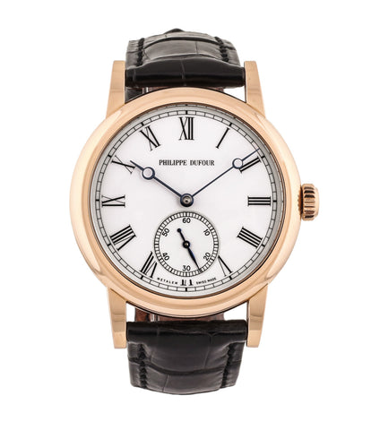 buy Philippe Dufour Simplicity rose gold 37 mm rare watch white lacquer dial Roman numerals from independent watchmaker for sale at approved re-seller of Philippe Dufour A Collected Man