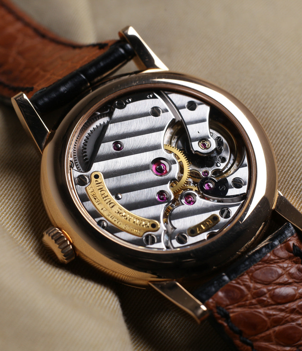 hand-finished movement buy Philippe Dufour Simplicity rose gold 37 mm rare watch white lacquer dial Roman numerals from independent watchmaker for sale at approved re-seller of Philippe Dufour A Collected Man