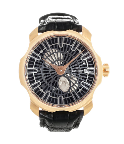 buy Sarpaneva Korona rose gold time-only moonphase dress watch for sale online at A Collected Man London approved re-seller of independent watchmakers