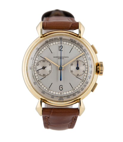 buy Vacheron Constantin Chronograph 4178 yellow gold manual-winding Cal. 434 vintage authentic pre-owned rare dress luxury watch from 1947 with silver dial and brown alligator strap with chronograph, tachymeter, hours, minutes, sub-seconds for sale online at WATCH XCHANGE London