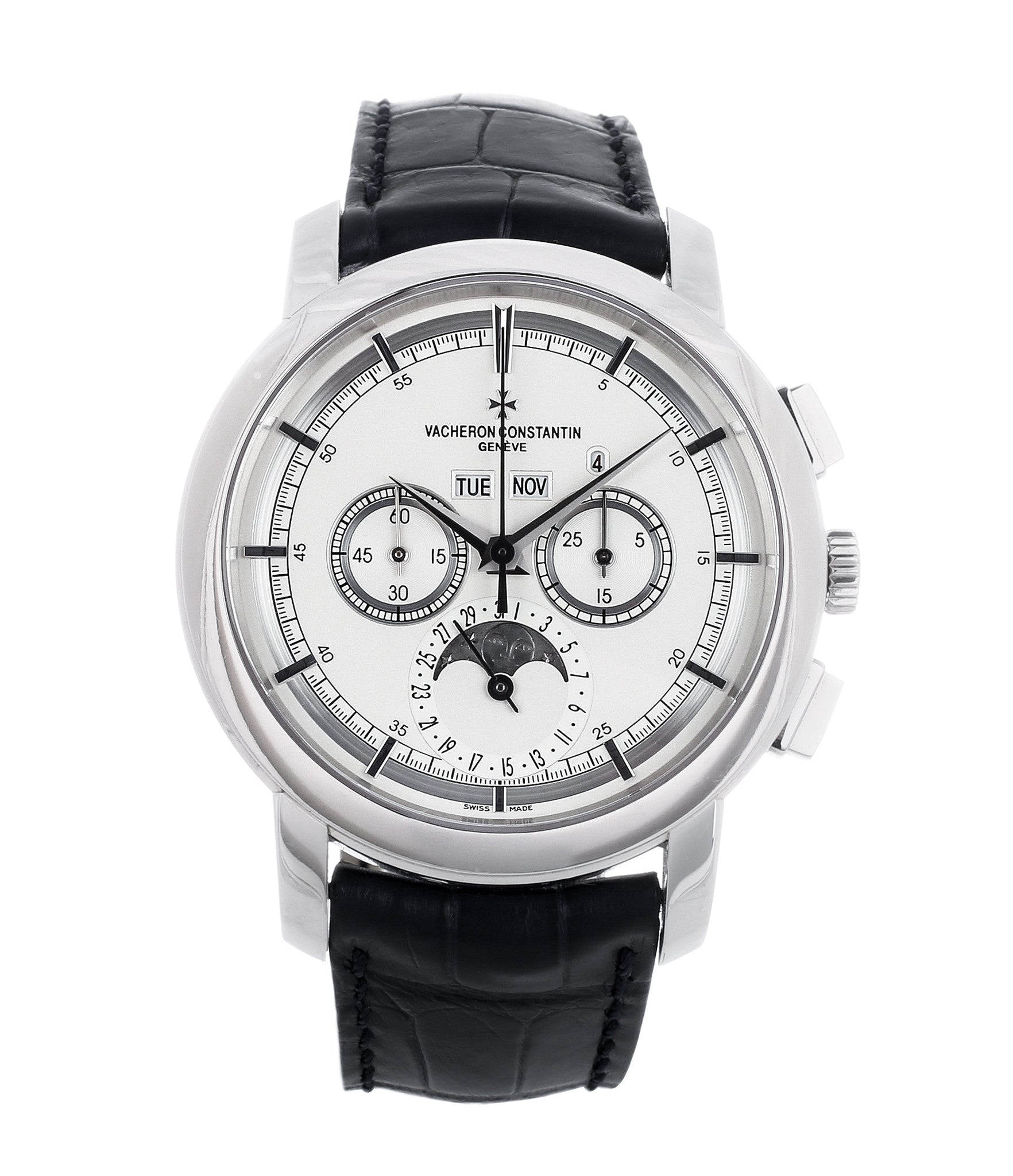 buy Vacheron Constantin Patrimony Traditionelle Chronograph Perpetual Calendar 47292-000P platinum dress watch for sale WATCH XCHANGE LONDON with full set and authenticity guaranteed
