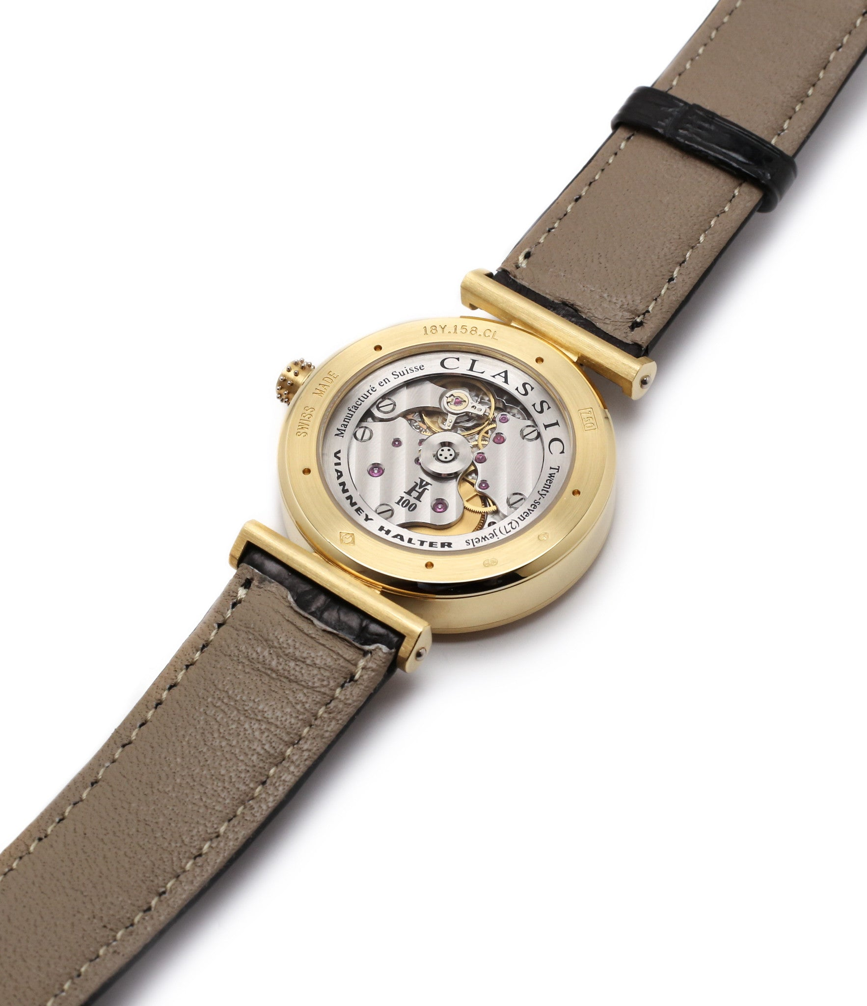 display back movement buy Vianney Halter Classic yellow gold time-only dress watch at A Collected Man the approve seller of independent watchmakers