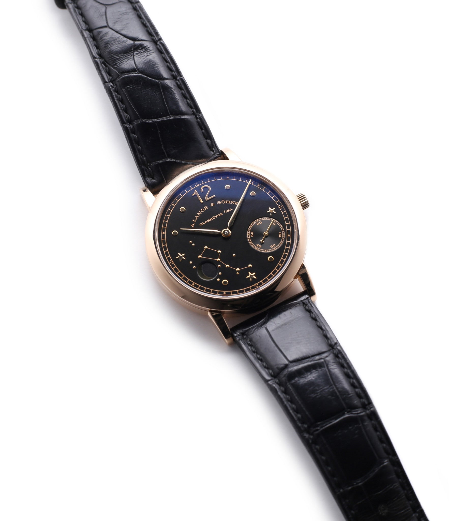 buy rare A. Lange & Söhne 1815 Moonphase Hommage a Emil Lange 1849-1922 rose gold black dial watch at A Collected Man curated platform of rare and vintage watches