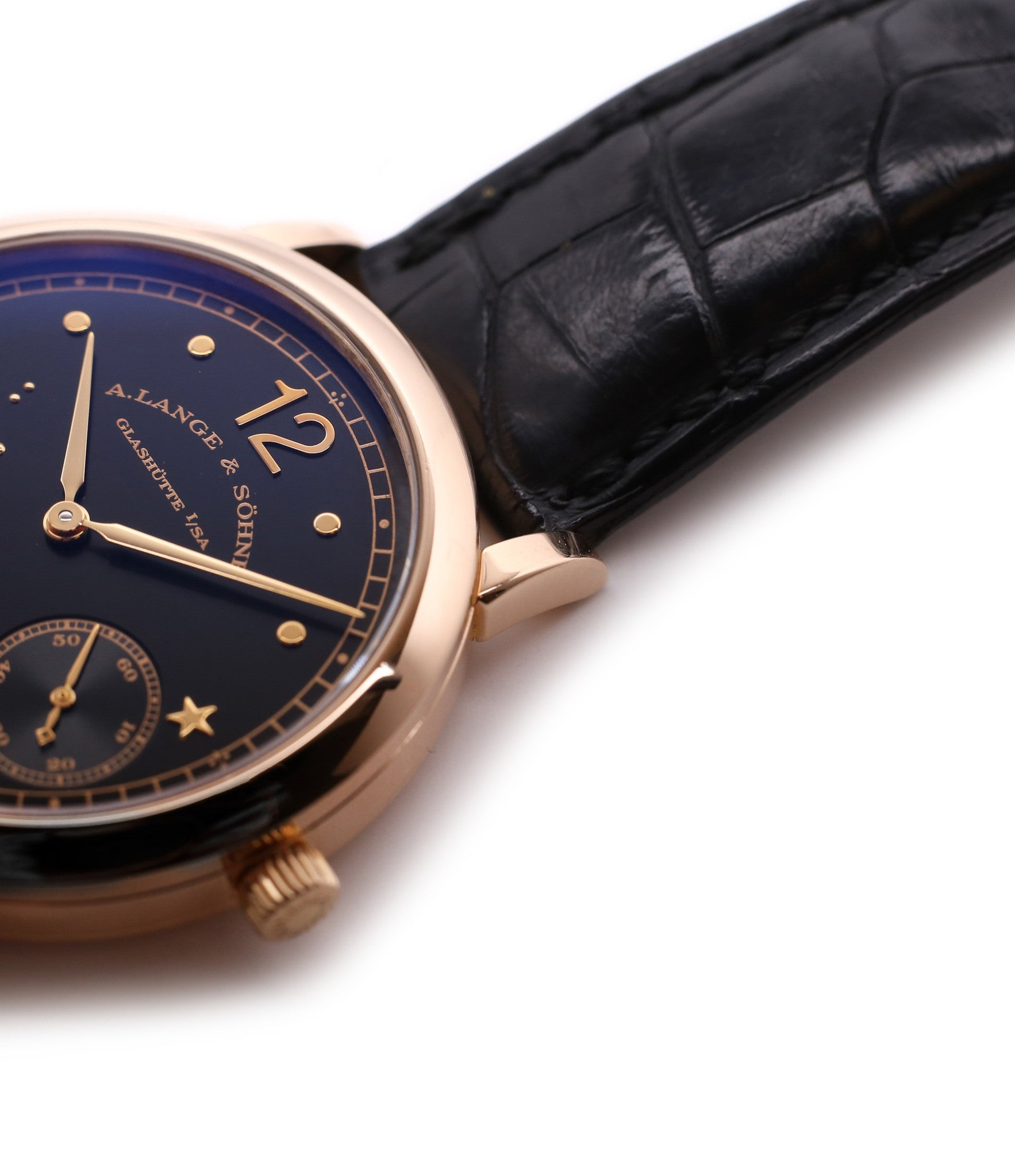 dress watch buy rare A. Lange & Söhne 1815 Moonphase Hommage a Emil Lange 1849-1922 rose gold black dial watch at A Collected Man curated platform of rare and vintage watches