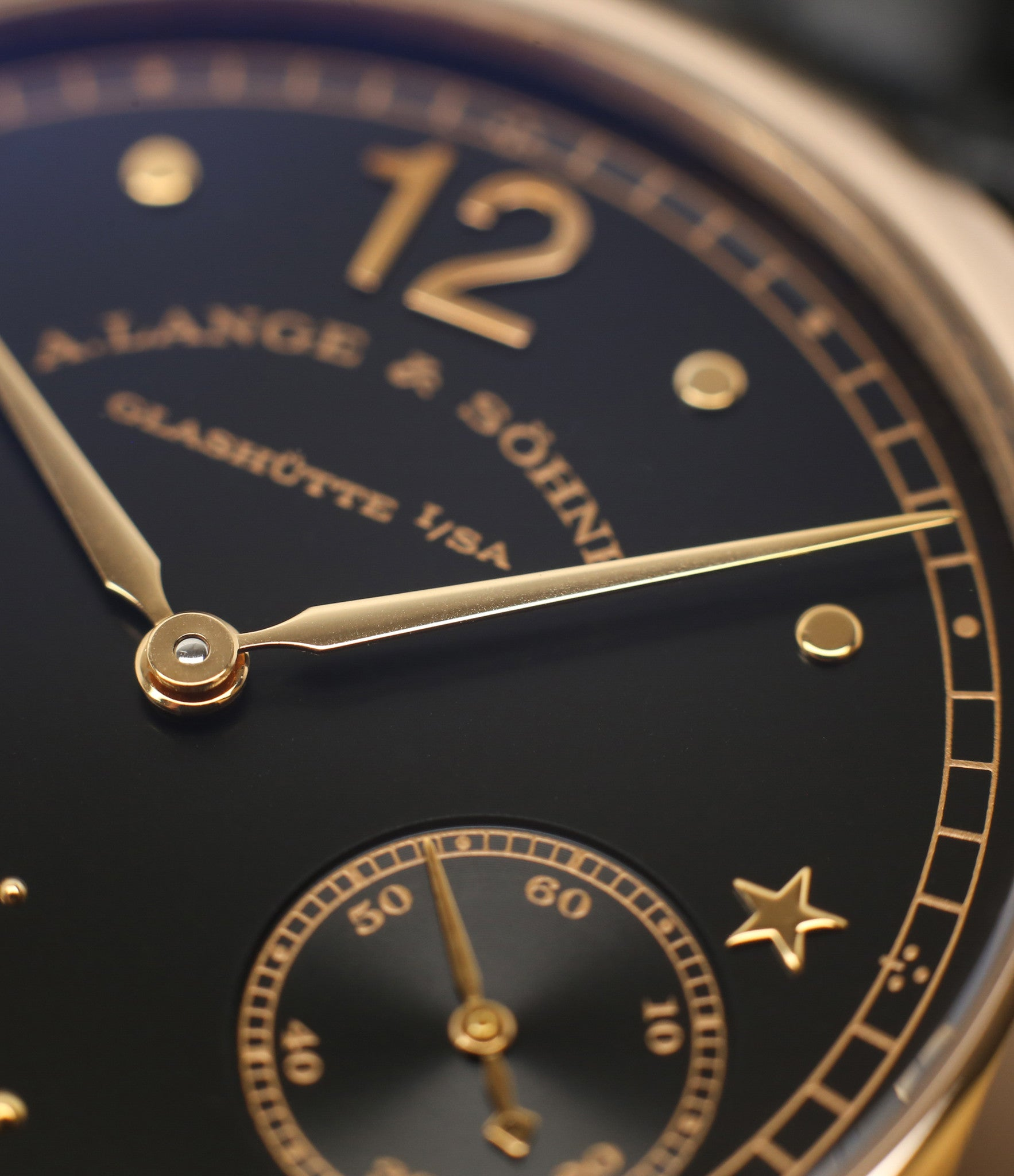 rose gold feuille hands buy rare A. Lange & Söhne 1815 Moonphase Hommage a Emil Lange 1849-1922 rose gold black dial watch at A Collected Man curated platform of rare and vintage watches