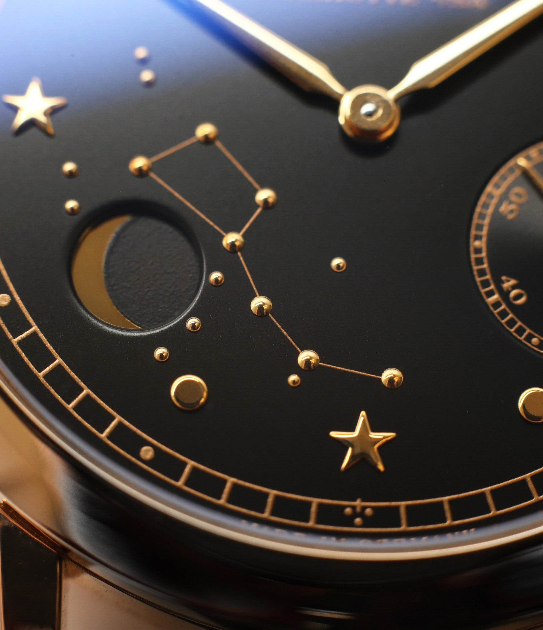 moonphase sub-register buy rare A. Lange & Söhne 1815 Moonphase Hommage a Emil Lange 1849-1922 rose gold black dial watch at A Collected Man curated platform of rare and vintage watches