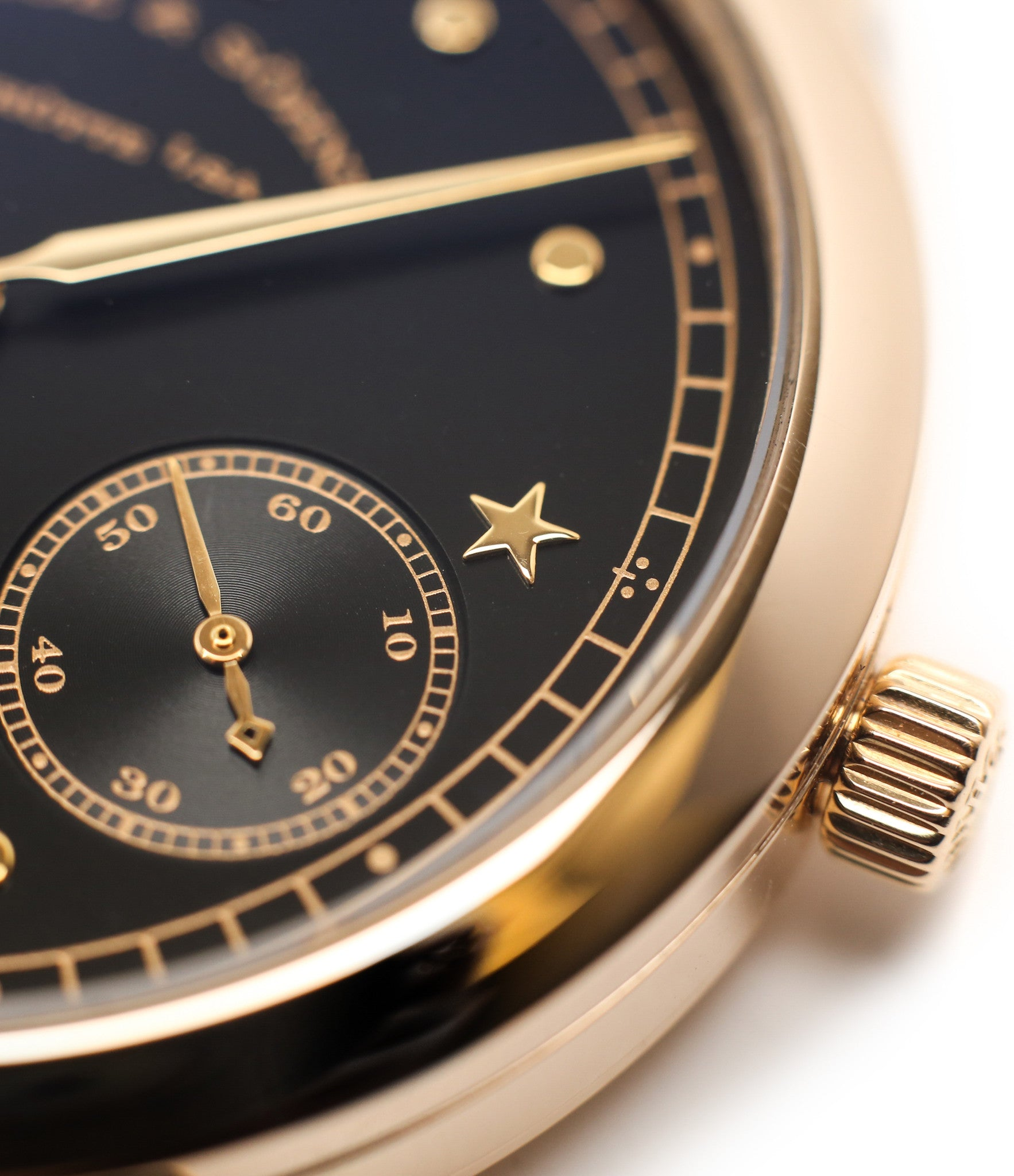 star index markers buy rare A. Lange & Söhne 1815 Moonphase Hommage a Emil Lange 1849-1922 rose gold black dial watch at A Collected Man curated platform of rare and vintage watches